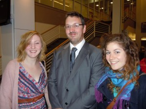 Emma, Richard and Ines go to the conference dinner