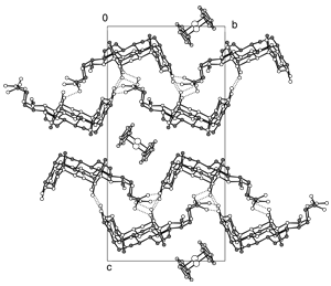 Packing diagram of (deoxycholic acid)2:ferrocene at 100K viewed along the crystallographic a-axis