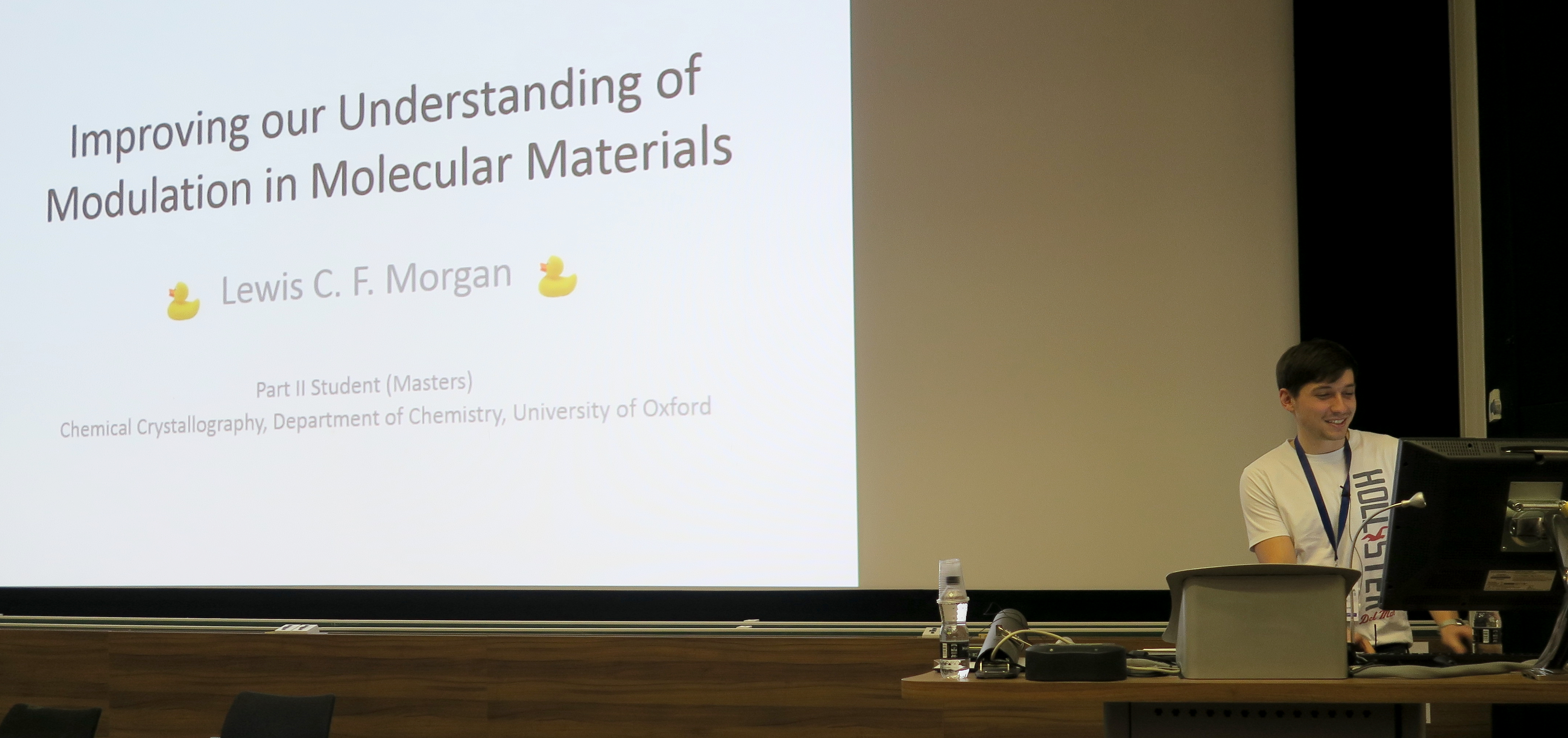 Lewis Morgan delivering his prize-winning presentation at the BCA Spring Meeting 2018